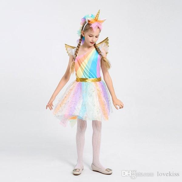 Halloween Cosplay Girl Clothes Costume Unicorn Girls Dresses