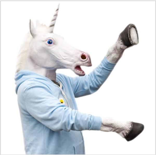 Halloween Mask Cute Creepy Horse Unicorn Mask Halloween Head Latex