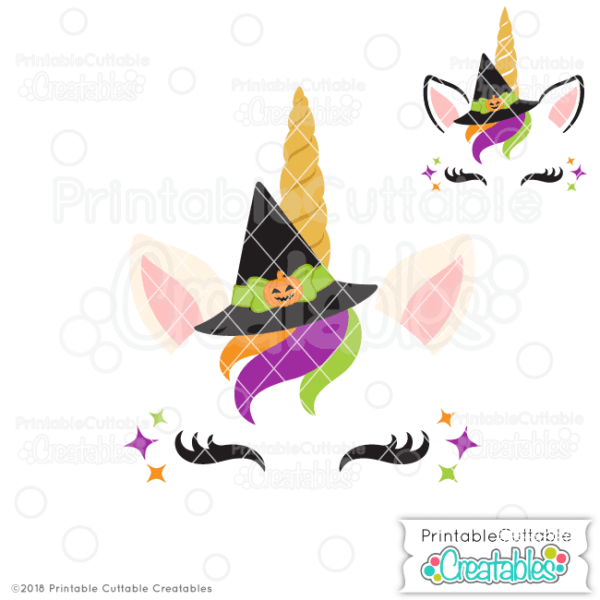 Halloween Witch Unicorn Face Free Svg File For Silhouette, For Cricut