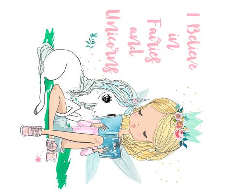 I Believe In Fairies & Unicorns   Girl & Unicorn Fabric
