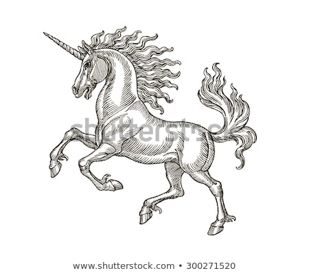 Ink Pen Hand Drawing Mythological Animal Stock Illustration