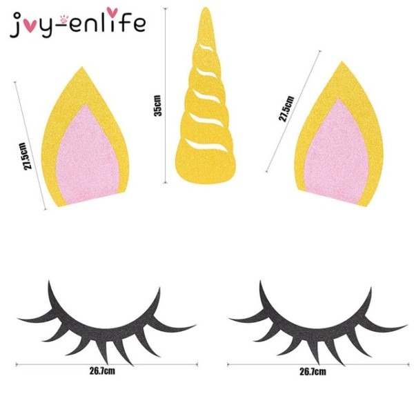 Joy Enlife 1set Unicorn Party Decoration Unicorn Horn Eyelashes