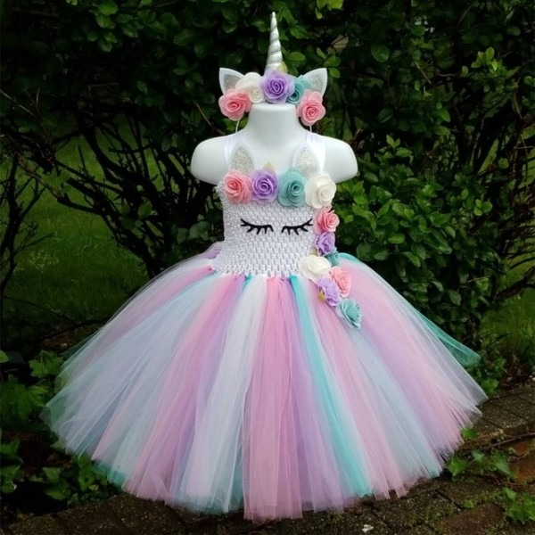 Kids Girls Unicorn Tutu Dress Knee Length Pastel Rainbow Flower