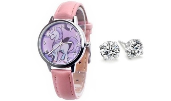 Kids Unicorn Watch & Earrings Set