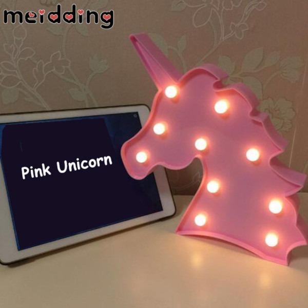 Meidding 1pcs Kids Led Unicorn Desk Lamp Night Room Battery Lights