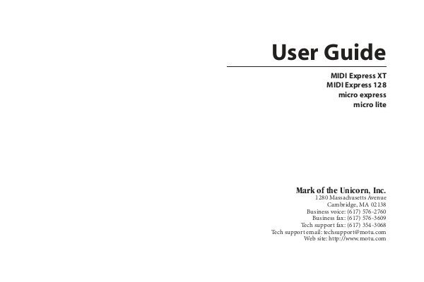 Motu Usb Midi Interface User Guide For Mac