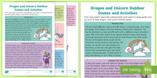 New   Dragon And Unicorn Games And Outdoor Activities