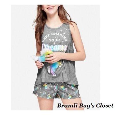Nwt Justice Girls Size 12 Unicorn Plush Pajamas Short Set 2pc New