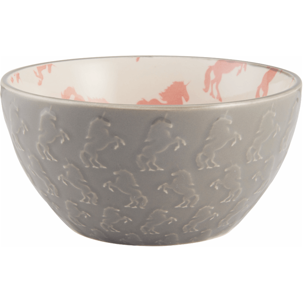 Pfaltzgraff 28 Ounce Pink & White Unicorn Embossed Ceramic Cereal