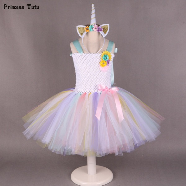 Pony Unicorn Tutu Dress Girl Kids Birthday Party Dress Up Rainbow