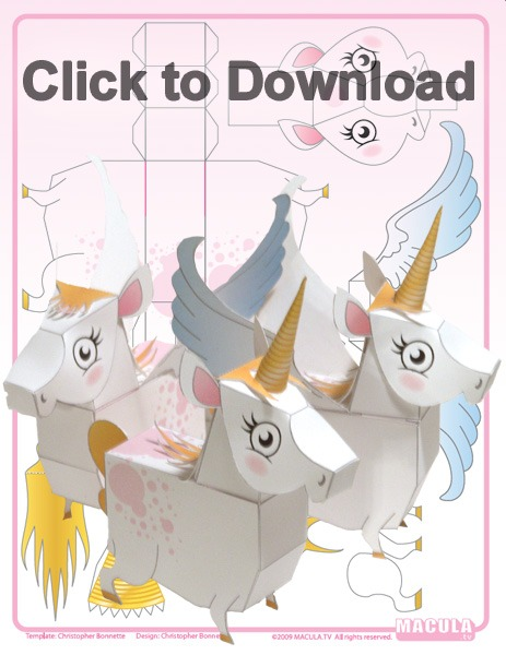 Printable Unicorn Paper Toy