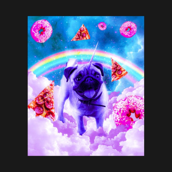 Rainbow Unicorn Pug In The Clouds In Space
