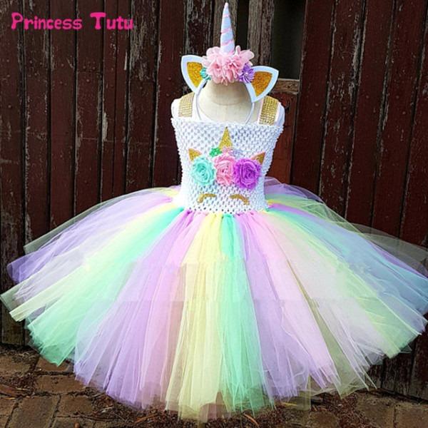 Rainbow Unicorn Tutu Dress Girl Kids Halloween Birthday Party