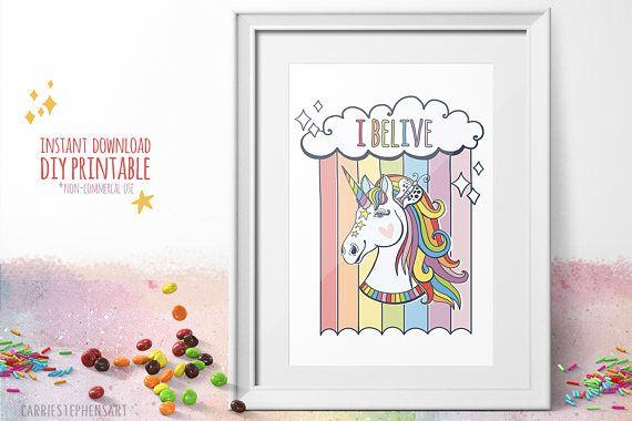 Rainbows And Unicorns! I Believe In Unicorns Art Print  Instant