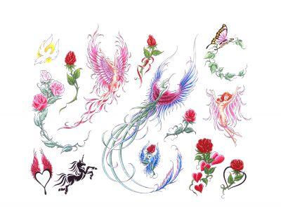 Roses And Phoenix Tattoo