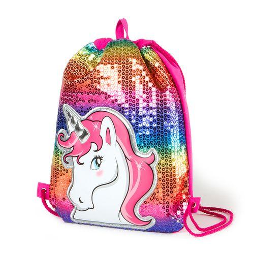Sequin Unicorn Drawstring Bag