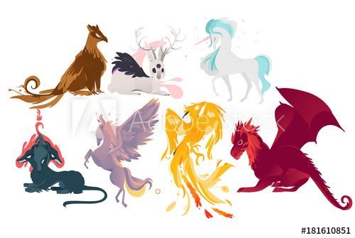 Set Of Mythical, Mythological Creates, Animals
