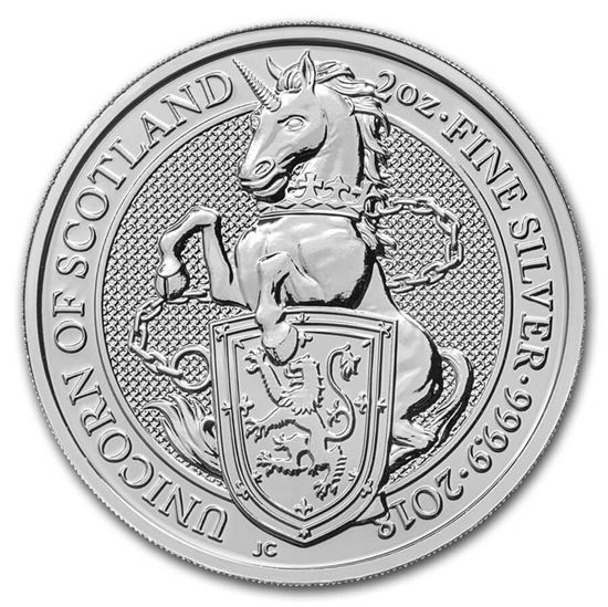The Queen's Beasts 2018  Unicorn Of Scotland , 2 Oz Silver