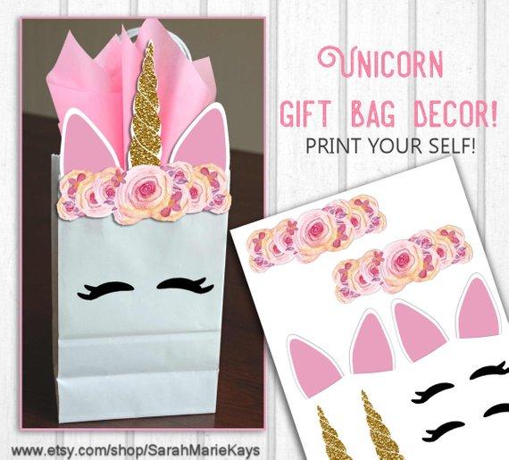 Unicorn Birthday Favor Bag Decorations Unicorn Print Outs