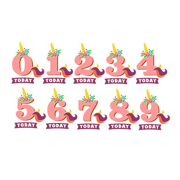 Unicorn Birthday Numbers Cuttable Design