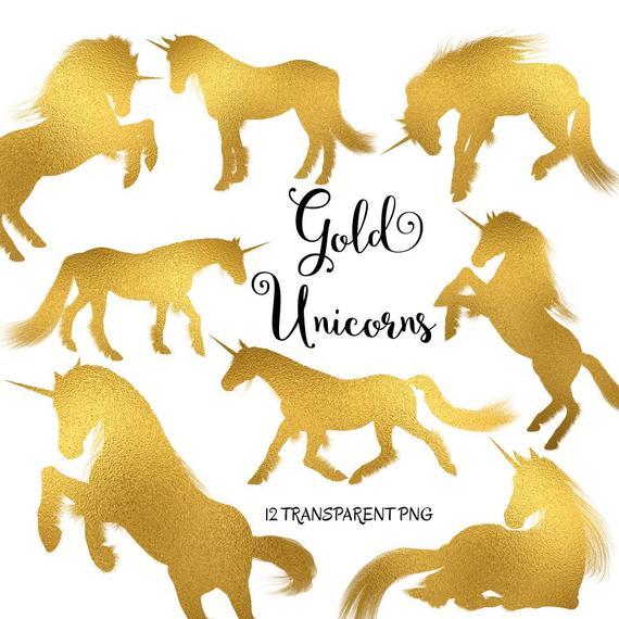 Unicorn Clipart  Gold Unicorns Gold Unicorn