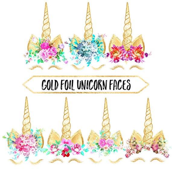 Unicorn Clipart Gold Foil Unicorn Face Rainbow Flowers Fairy