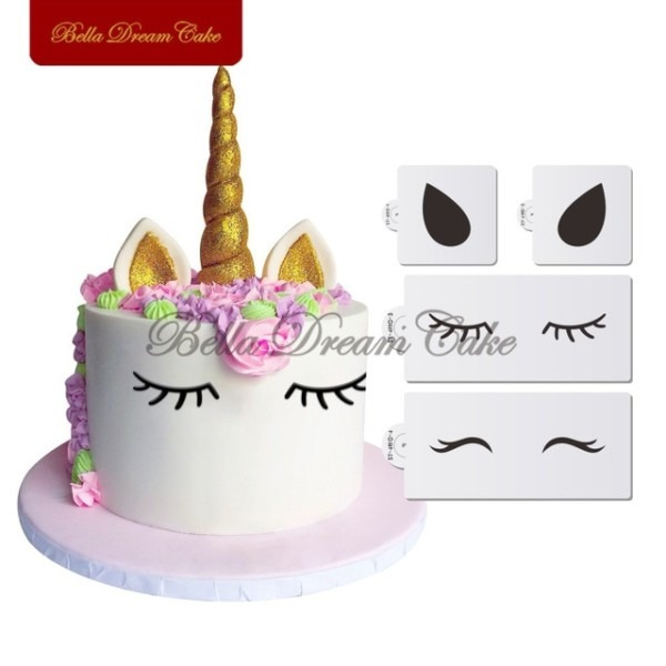 Unicorn Eyes&ears Cake Side Stencil Set Animals Stencils Party