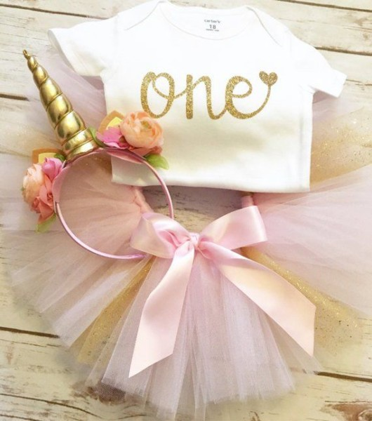 Unicorn First Birthday Outfit Girl