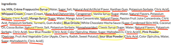 Ingredients In Unicorn Frappuccino