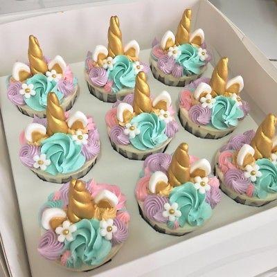 Unicorn Horn Edible Girls Birthday Cupcake Topper Decoration X 6
