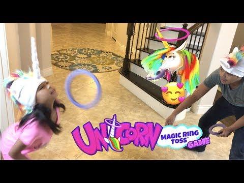 Unicorn Magic Ring Toss Game Lil Sis Vs Big Bro + Surprise Toy