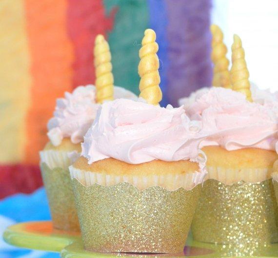 Unicorn Party Decor, Unicorn Horn Cupcake Toppers, Edible Unicorn