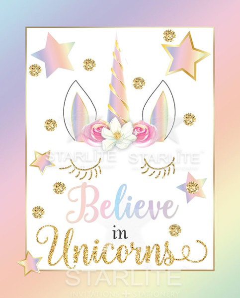 Unicorn Party Sign Believe In Unicorns Pastel Rainbow Printable