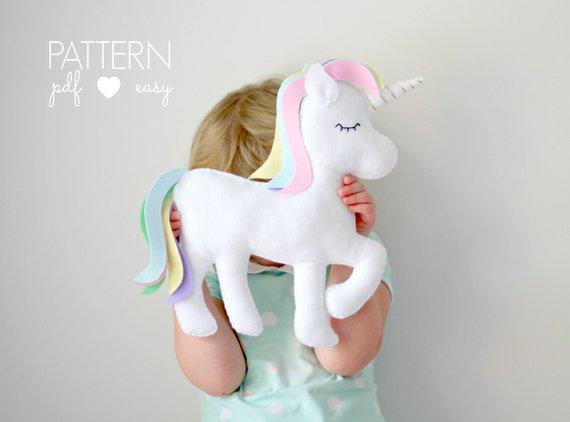 Unicorn Plush Pattern Diy Unicorn Nursery Decor Toy Felt