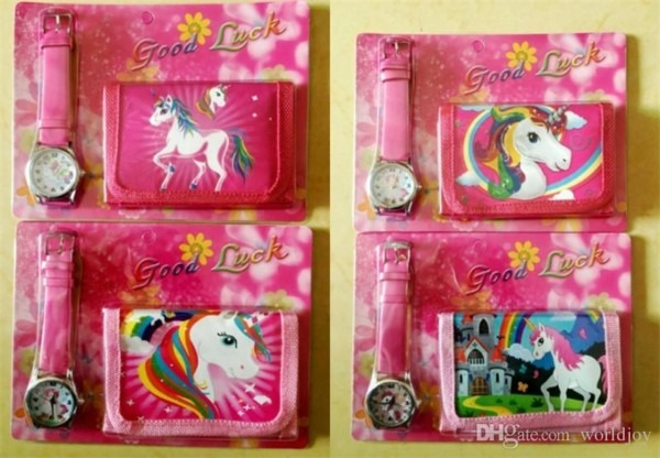 Unicorn Purses + Watch Set Girls Wallet Fold Pocket Bags Pink Rose
