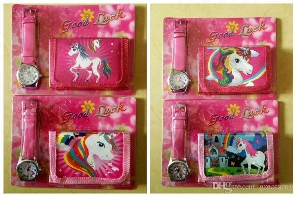 Unicorn Purses + Watch Set Girls Women Wallet Fold Pocket Bags