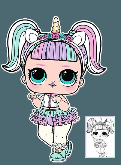 Unicorn Series 3 L O L Surprise Doll Coloring Page