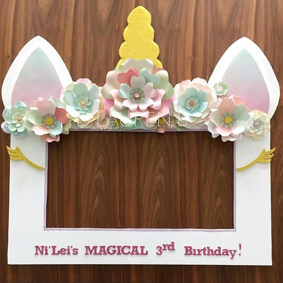 Unicorn Theme Selfie Photo Booth Frame Prop