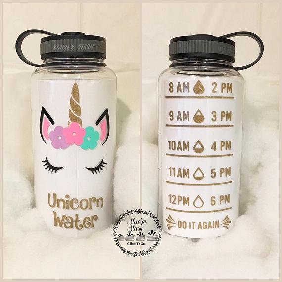 Unicorn, Unicorn Water Bottle, Water Tracker Water Bottle