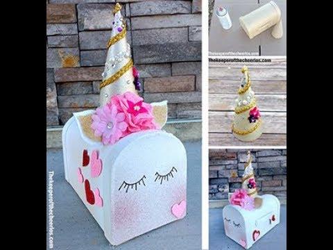 Unicorn Valentines Day Mailbox