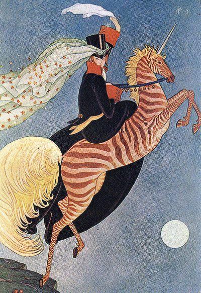 Vintage Deco Illustration—zebra Unicorn