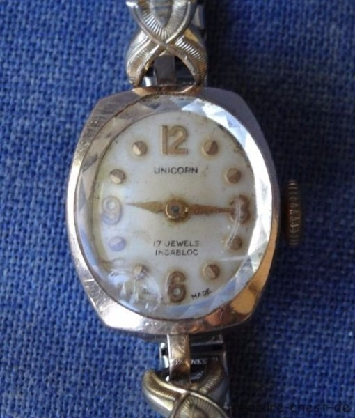 Vintage Gold Plated Unicorn Ladies Wrist Watch, Mechanical Wind