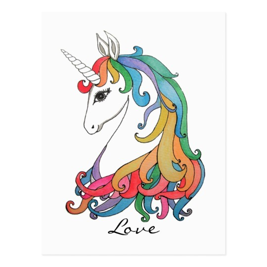 Watercolor Cute Rainbow Unicorn Postcard