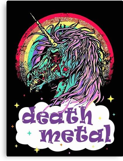 Zombie Unicorn Death Metal  Canvas Prints By Caiicann