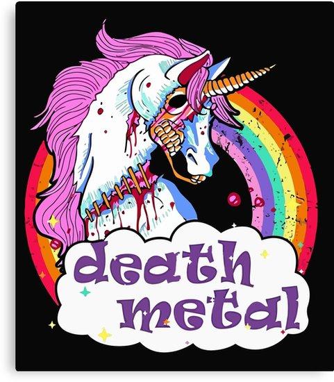 Zombie Unicorn Death Metal  Canvas Prints By Onseenn