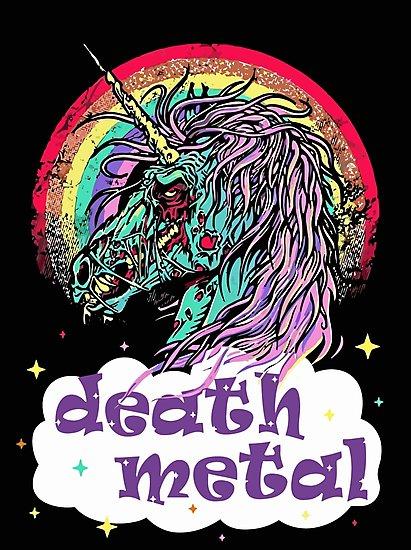 Zombie Unicorn Death Metal  Photographic Prints By Caiicann