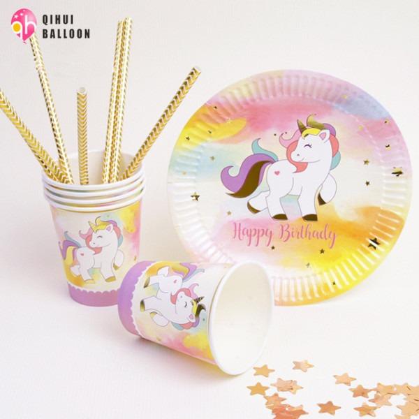 10pcs Bag Gold Mint Pink Unicorn Disposable Tableware Party Paper