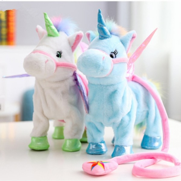 1pc Electric Walking Unicorn Plush Toy Soft Horse Stuffed Animal