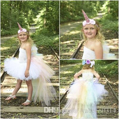 2018 New White, Rainbow Unicorn Dress   Burst High