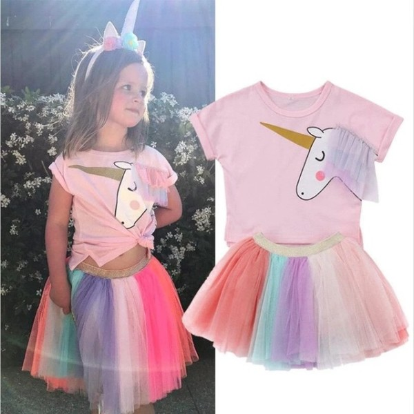2018 Summer Popular Unicorn Dress Girl Pink Unicorn Birthday